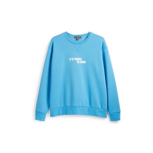 Blaues Sweatshirt mit Slogan | Sportbekleidung für Damen