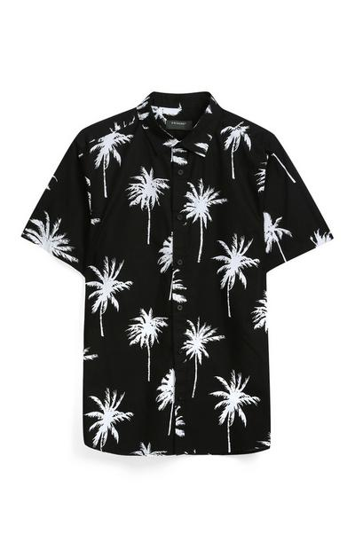 Schwarzes Hemd mit Palmenprint