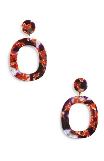 Orange Resin Drop Earrings
