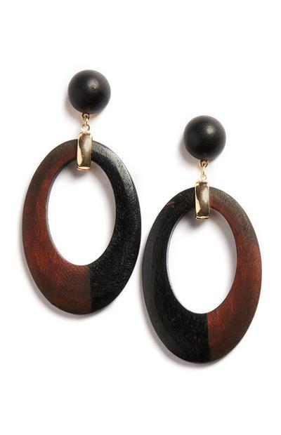 Brown Wooden Hoop Earring
