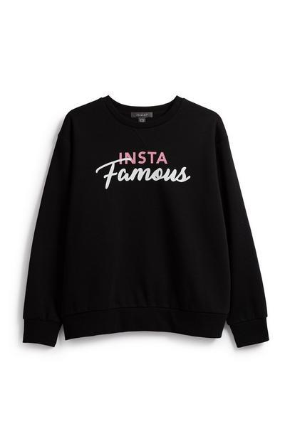 Black Slogan Sweatshirt