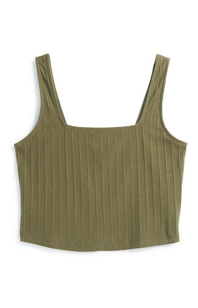Khaki Square Neck Crop Vest