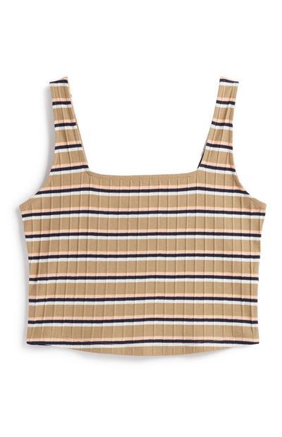 Stripe Square Neck Crop Vest