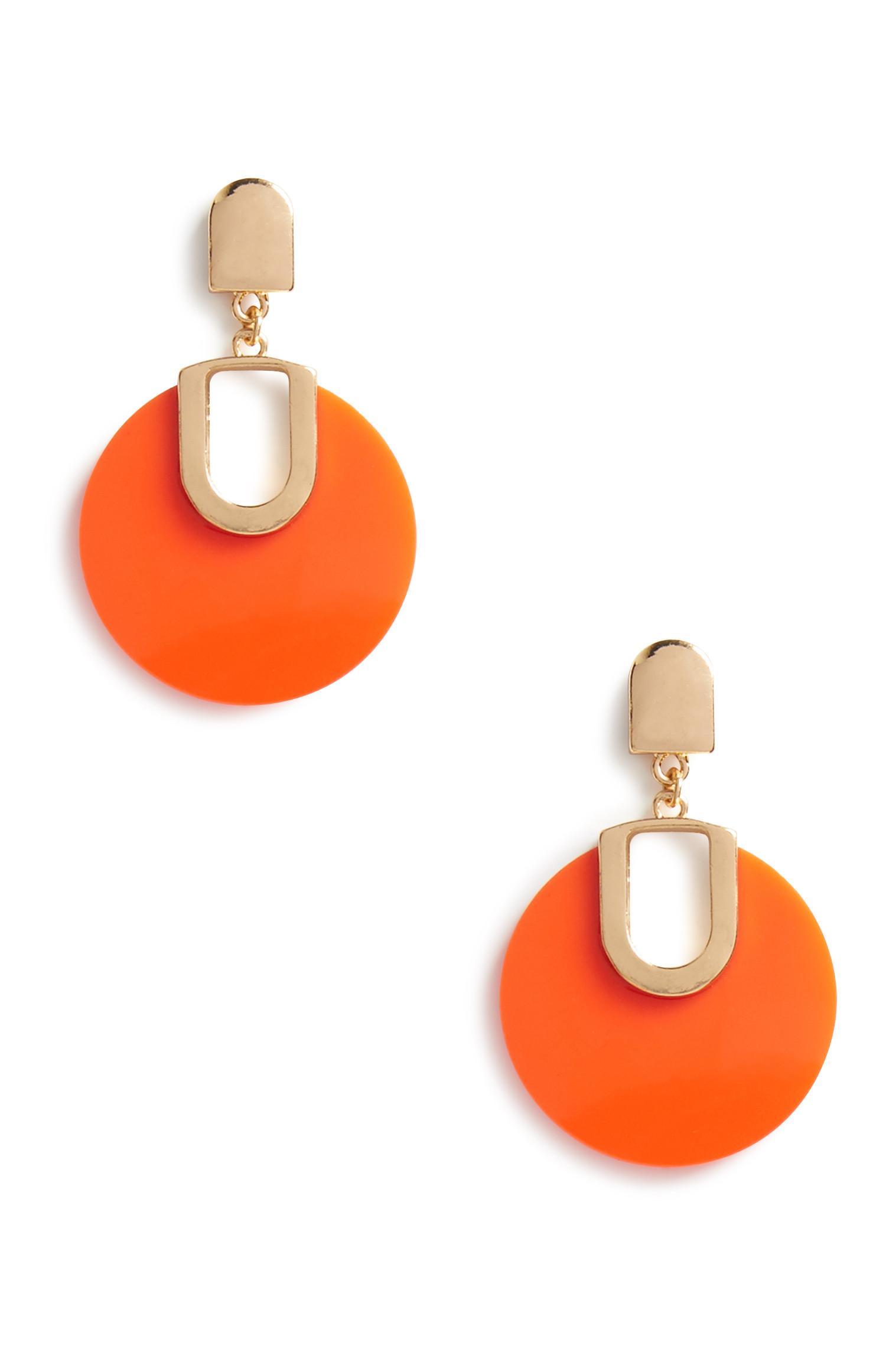 Orange Circle Earrings