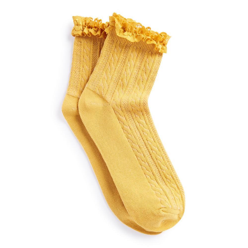 pas cher pour réduction b567b a117c Chaussettes moutarde à froufrous | Chaussettes et collants ...