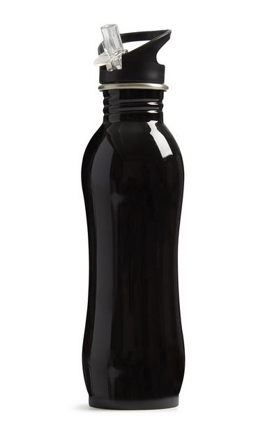 Black Steel Sports Bottle