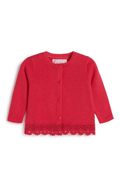 Baby Girl Red Lace Hem Cardigan
