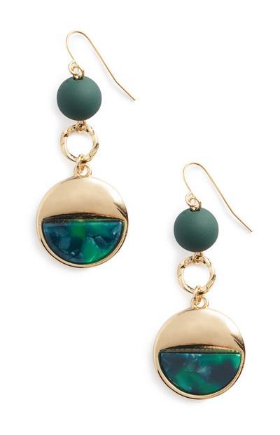 Green Resin Bead Earrings