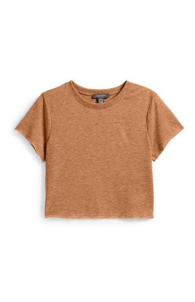 Tan Crop T-Shirt
