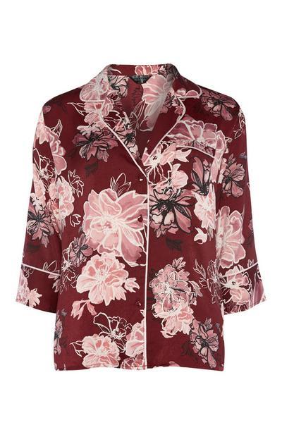 Burgundy Floral Satin Shirt