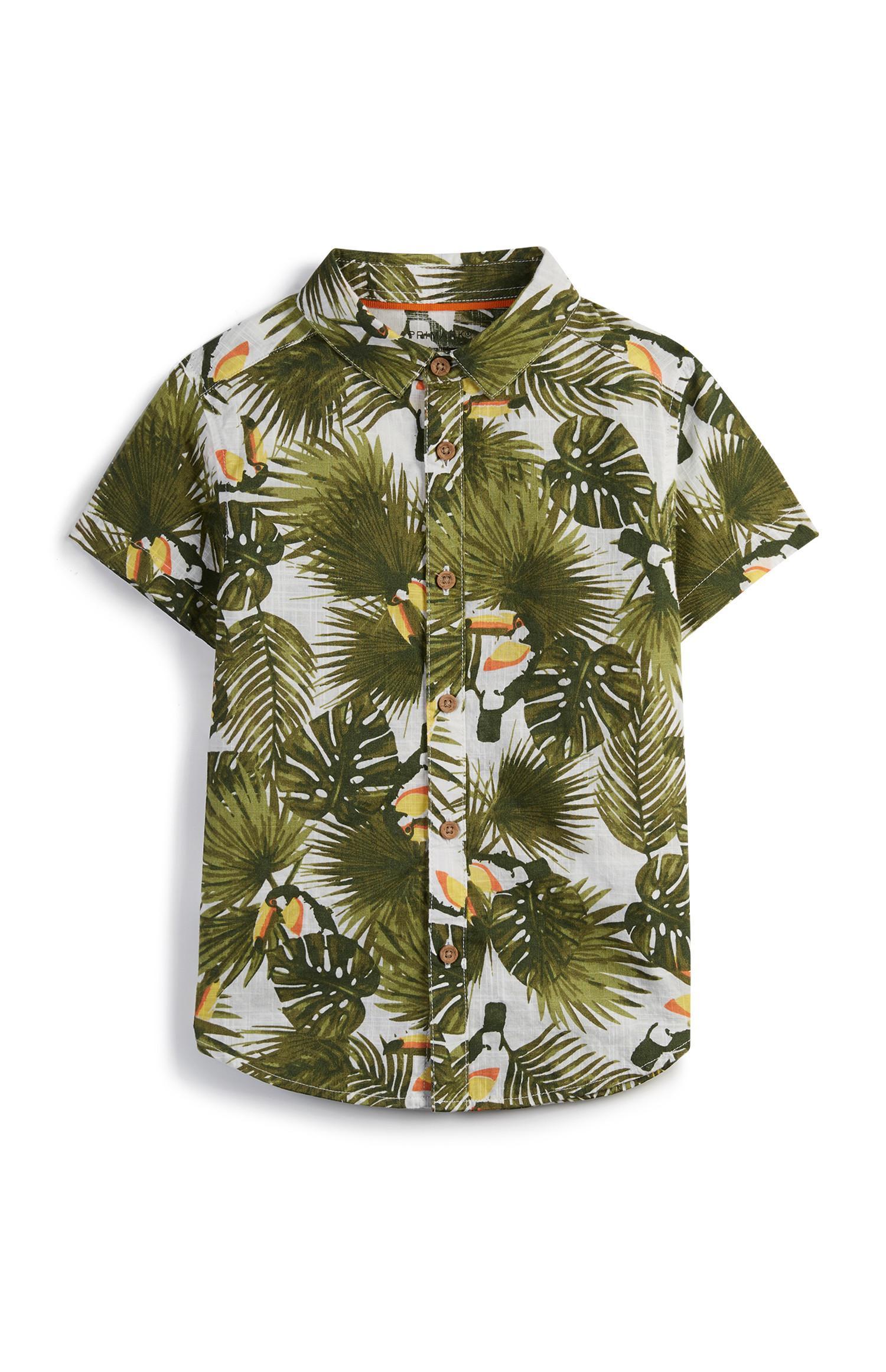 Younger Boy Leaf Print Shirt