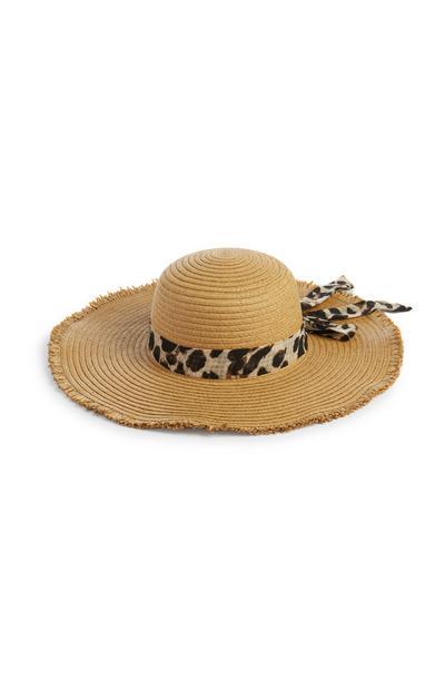 Straw Leopard Tie Hat