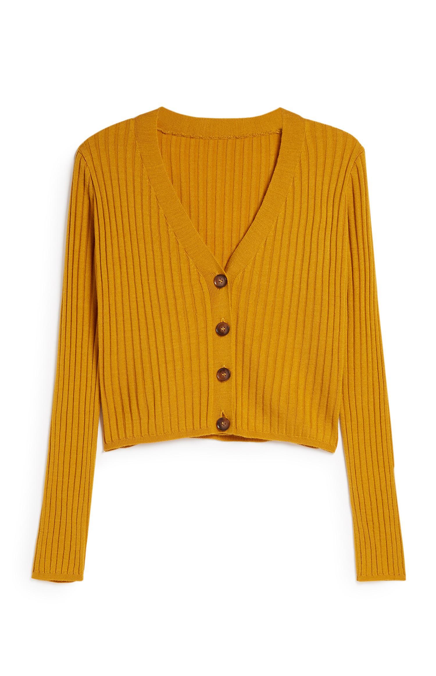 Mustard Ribbed Cardigan