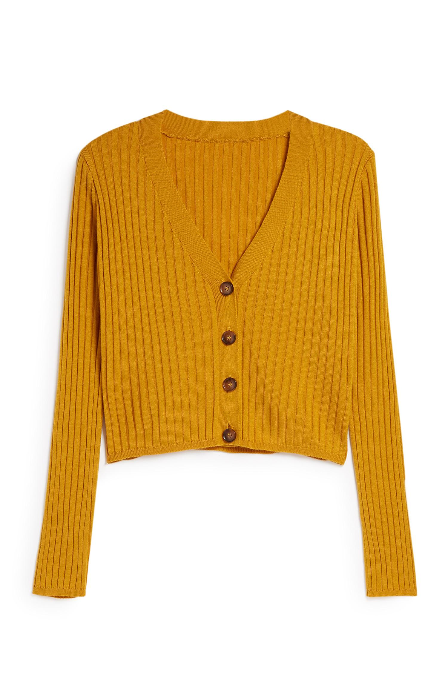 Mustard Ribbed Cardigan