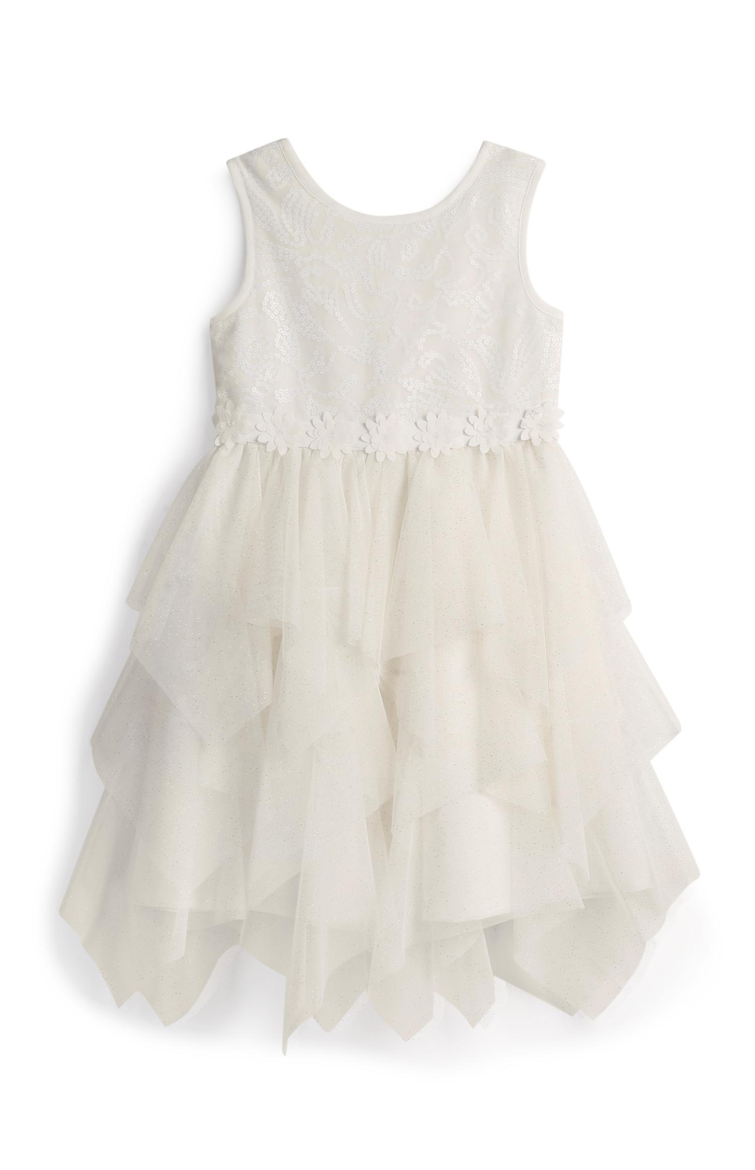 Younger Girl White Flower Girl Dress