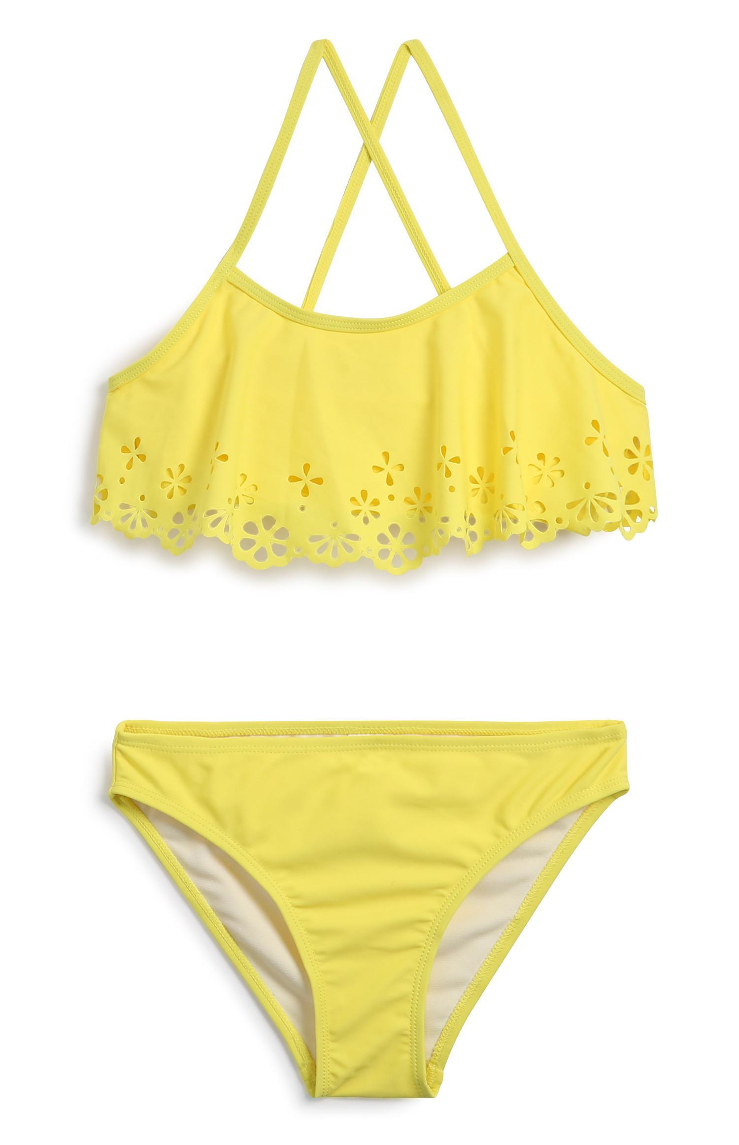 Bikini amarillo de niña mayor