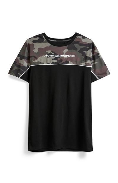Black Camo Slogan T-Shirt
