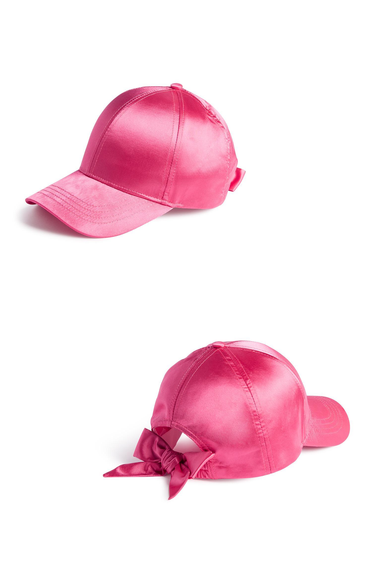 Pinke Satin-Cap mit Schleife