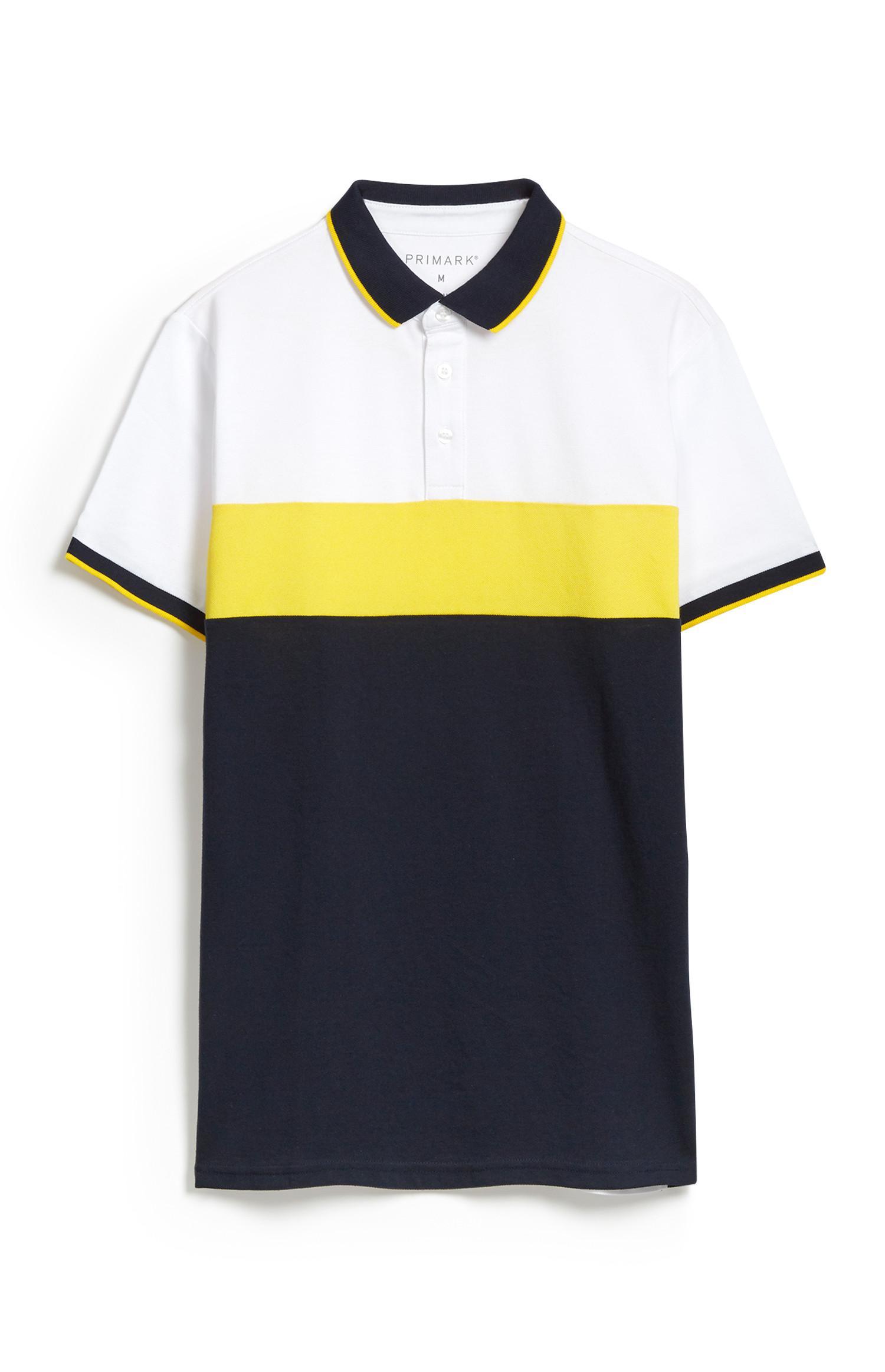 Yellow Colour Block Polo Top