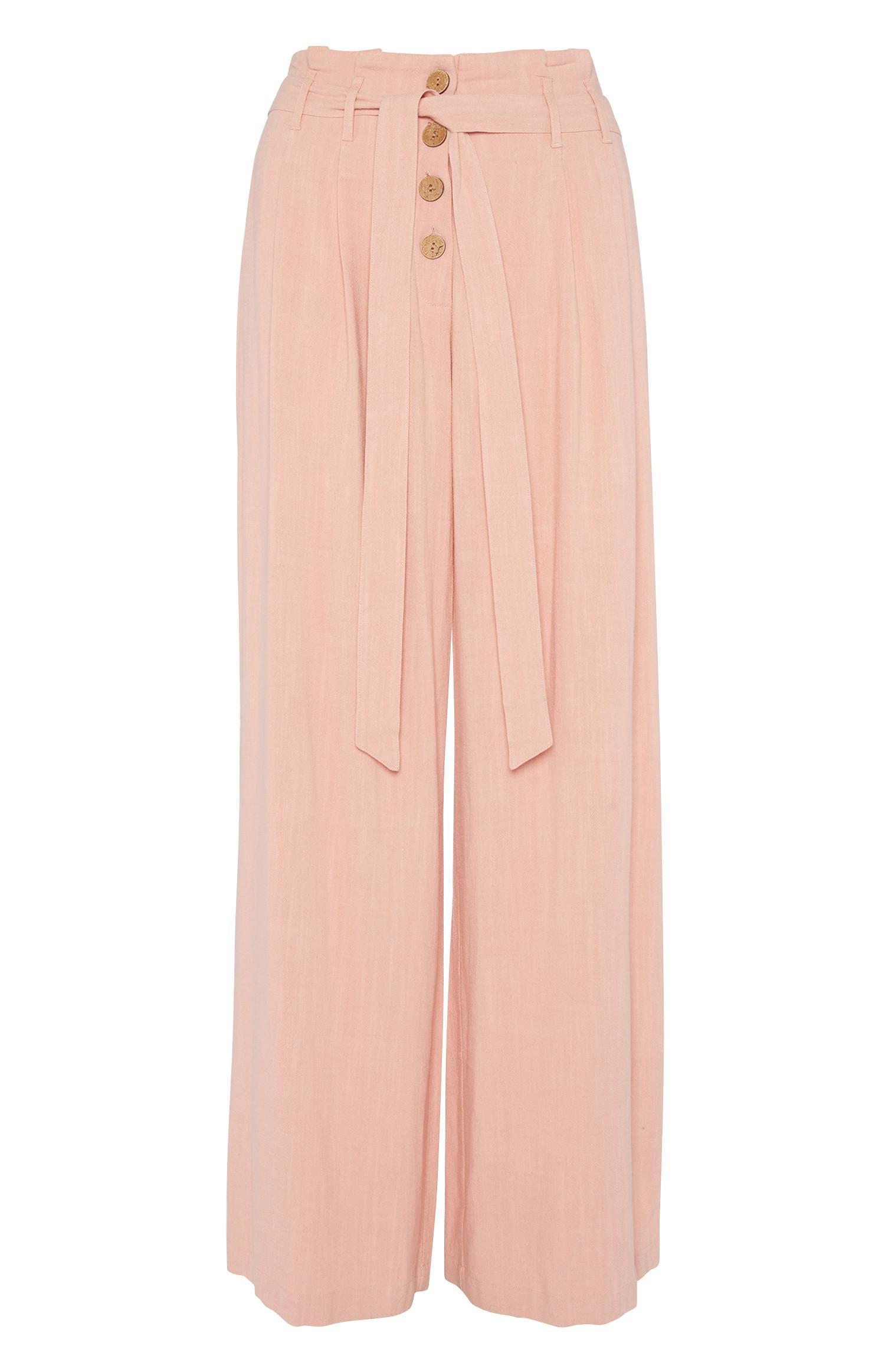 Rosafarbene Hose mit weitem Bein