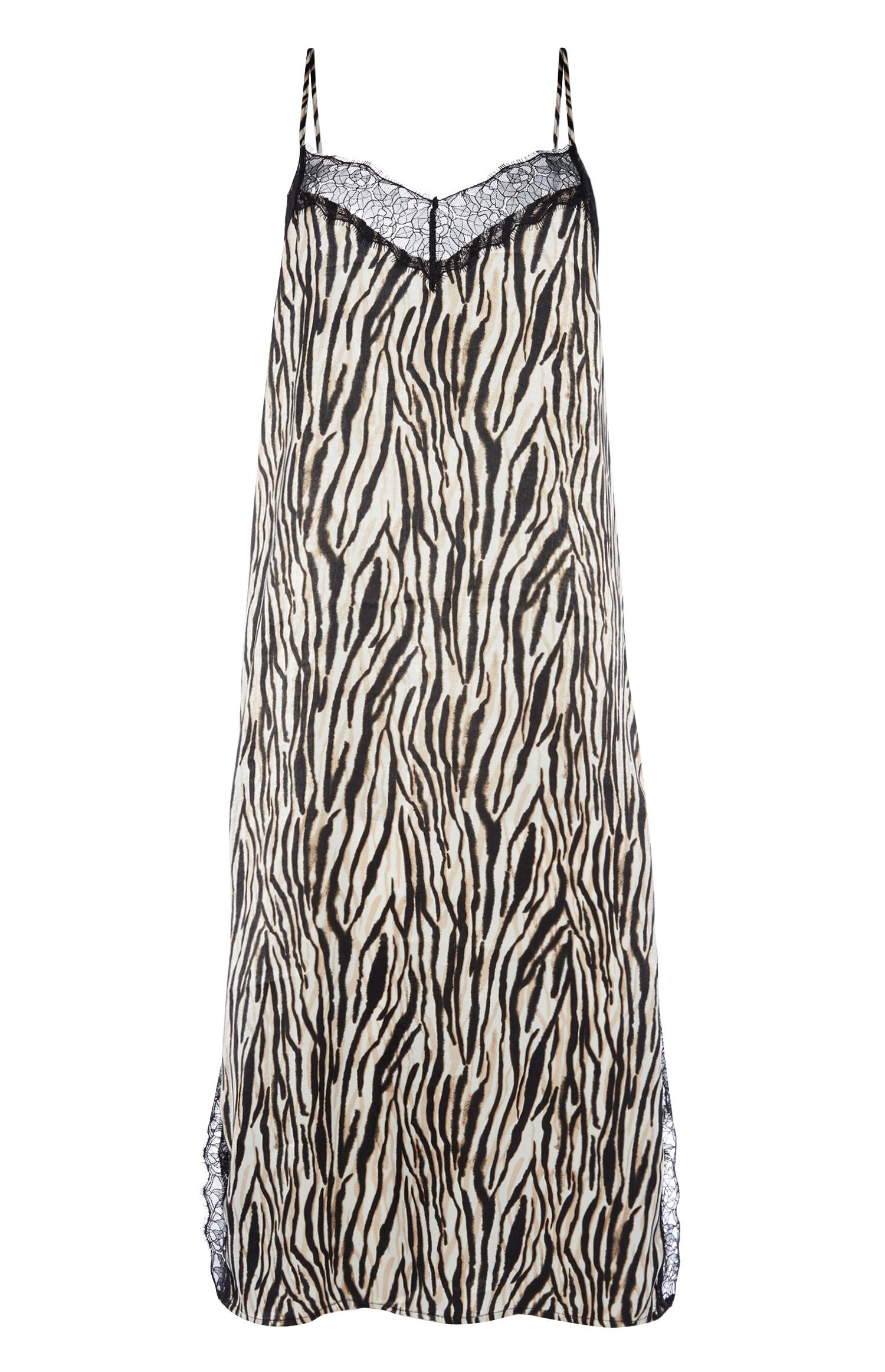 Camisa noite cetim padrão zebra