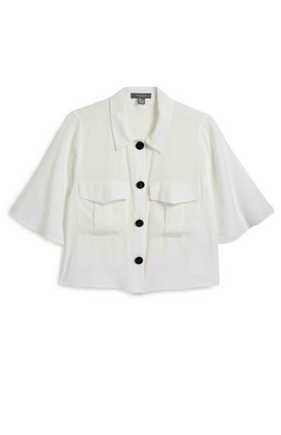 Kurzes Utility-Hemd in Weiß