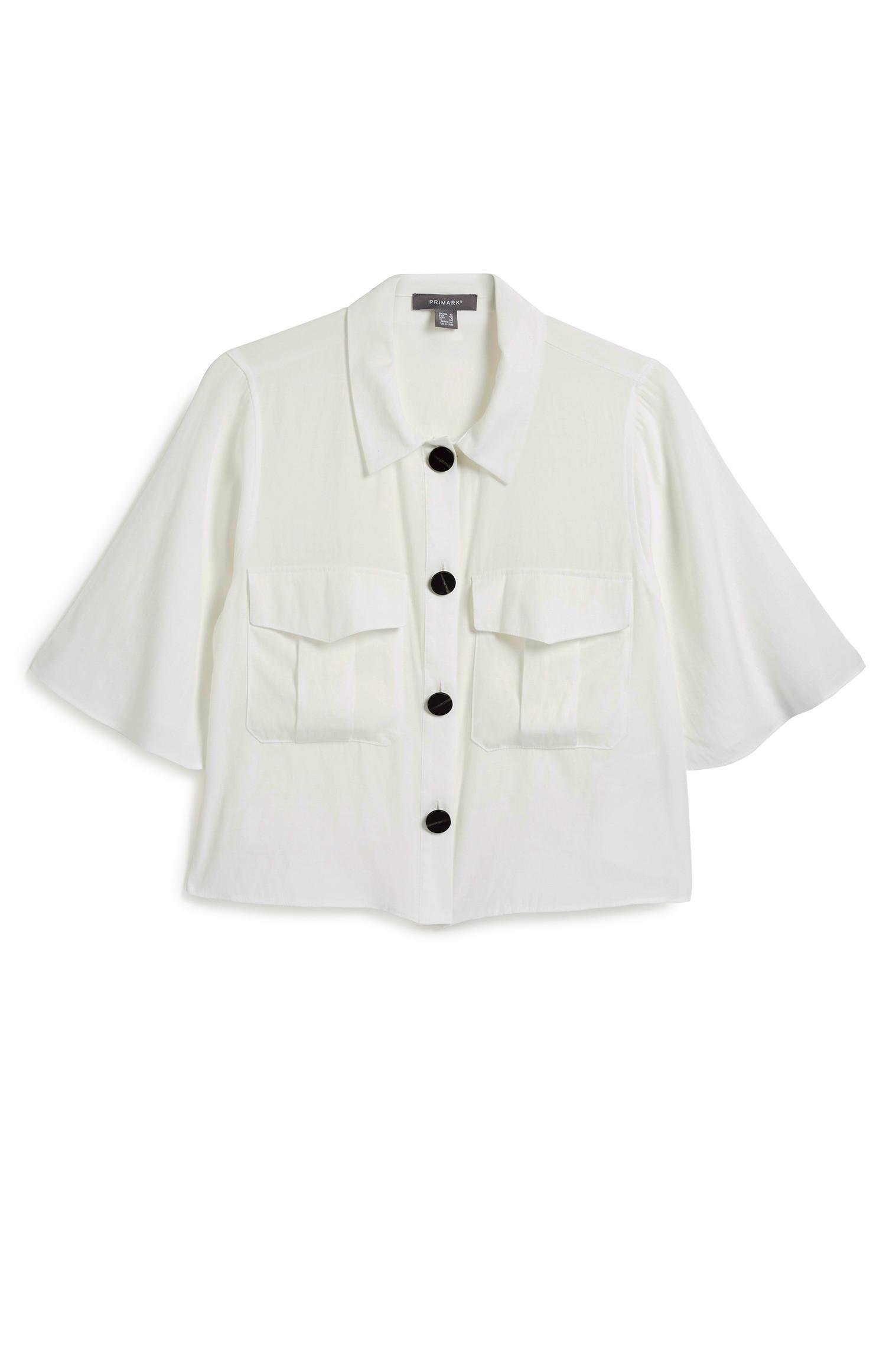 White Utility Crop Shirt