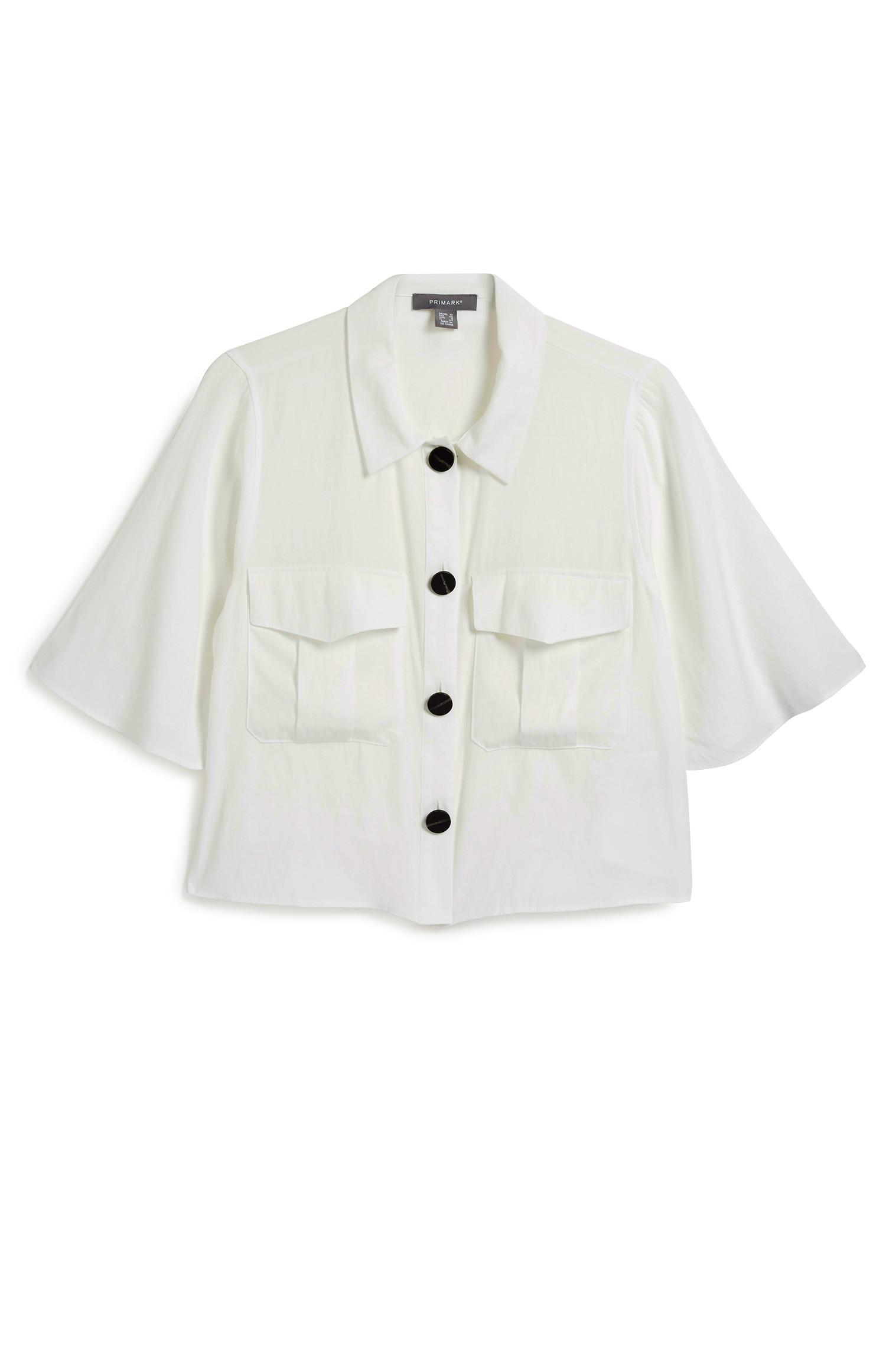 White Utility Crop Shirt