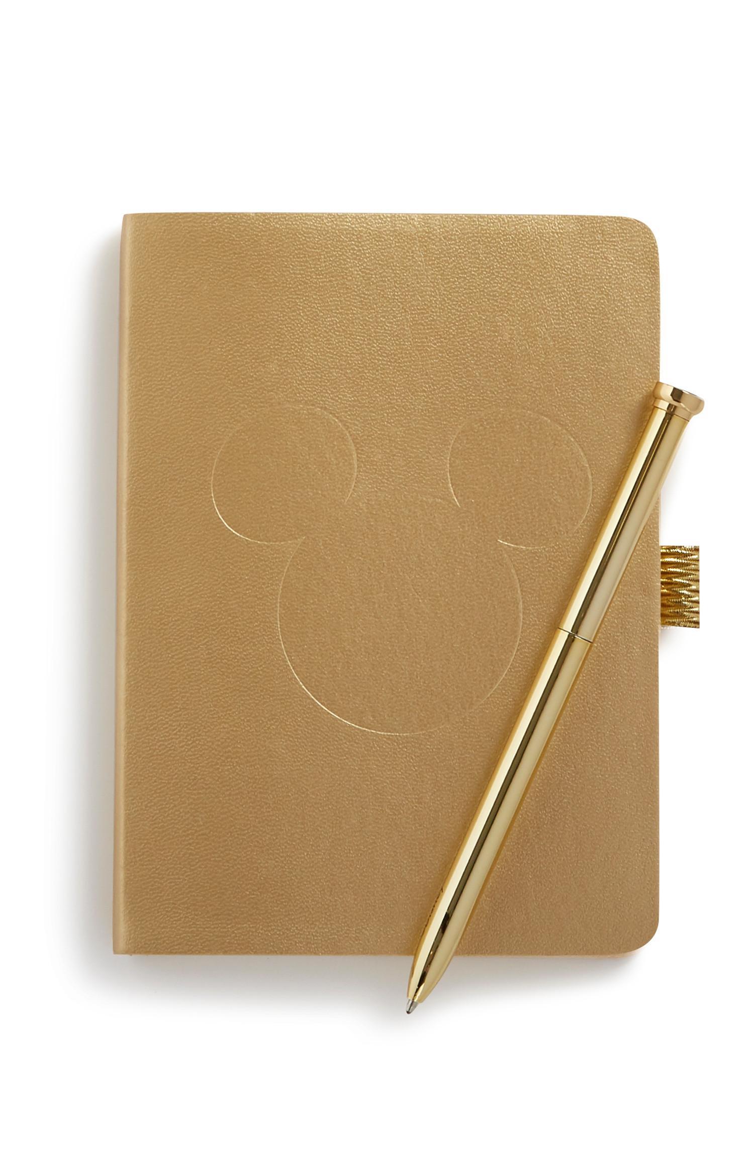 """""""Micky Maus"""" Notizbuch und Stift in Gold"""