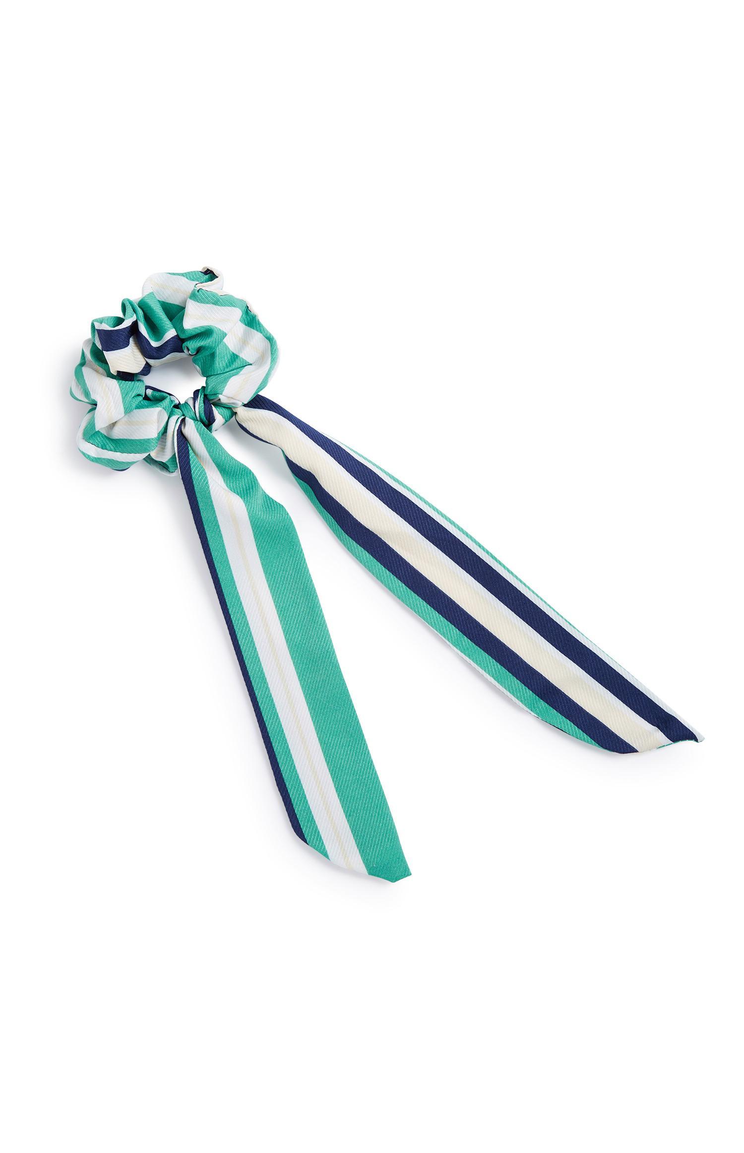 Green Stripe Scrunchie