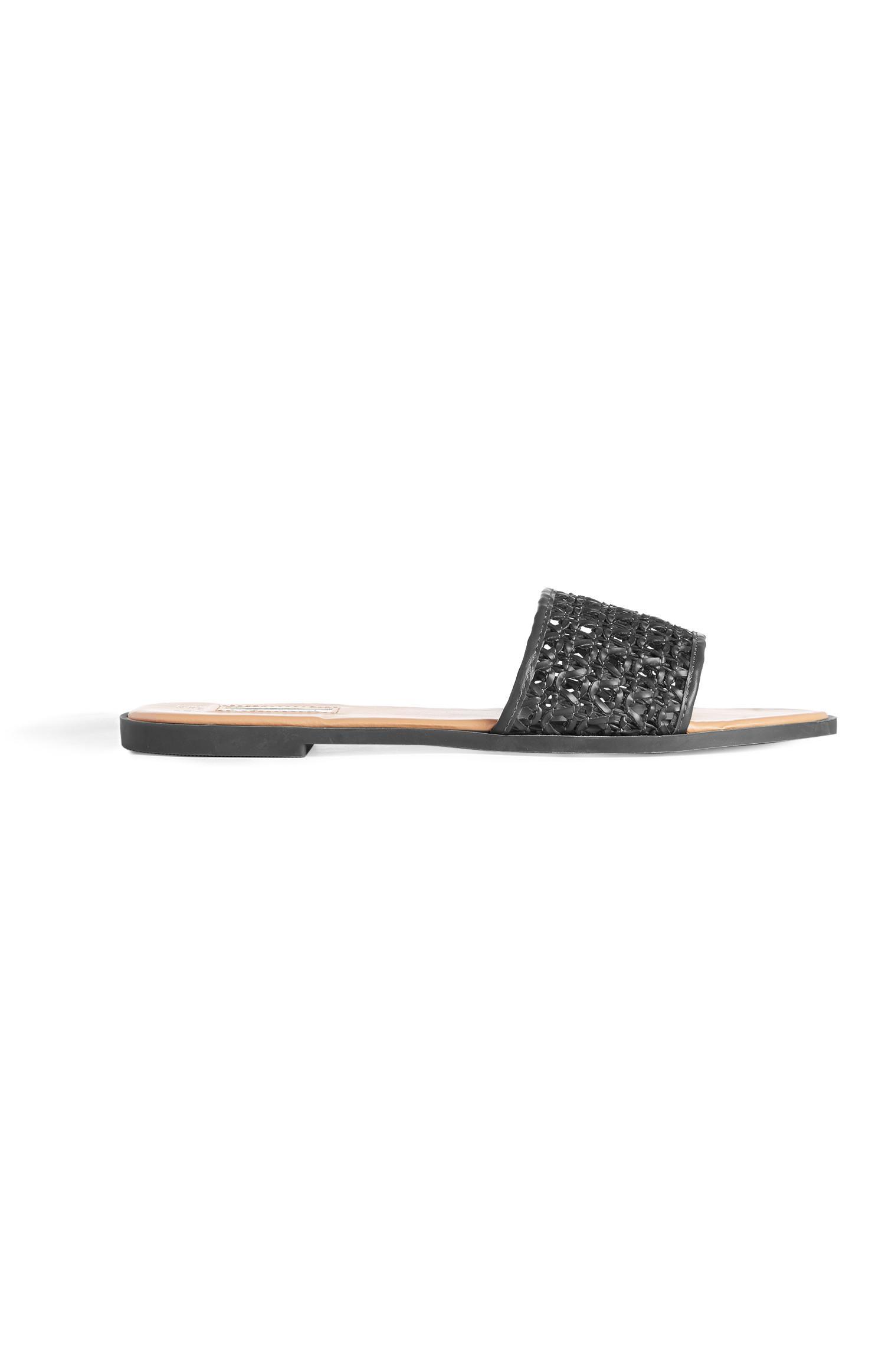Black Woven Slides