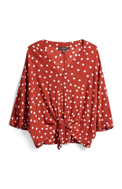 Terracotta Polka Dot Shirt