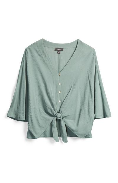 Green Tie Front Blouse