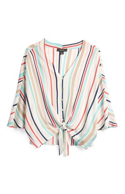 Stripe Tie Front Blouse