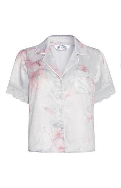Floral Satin Pyjama Shirt