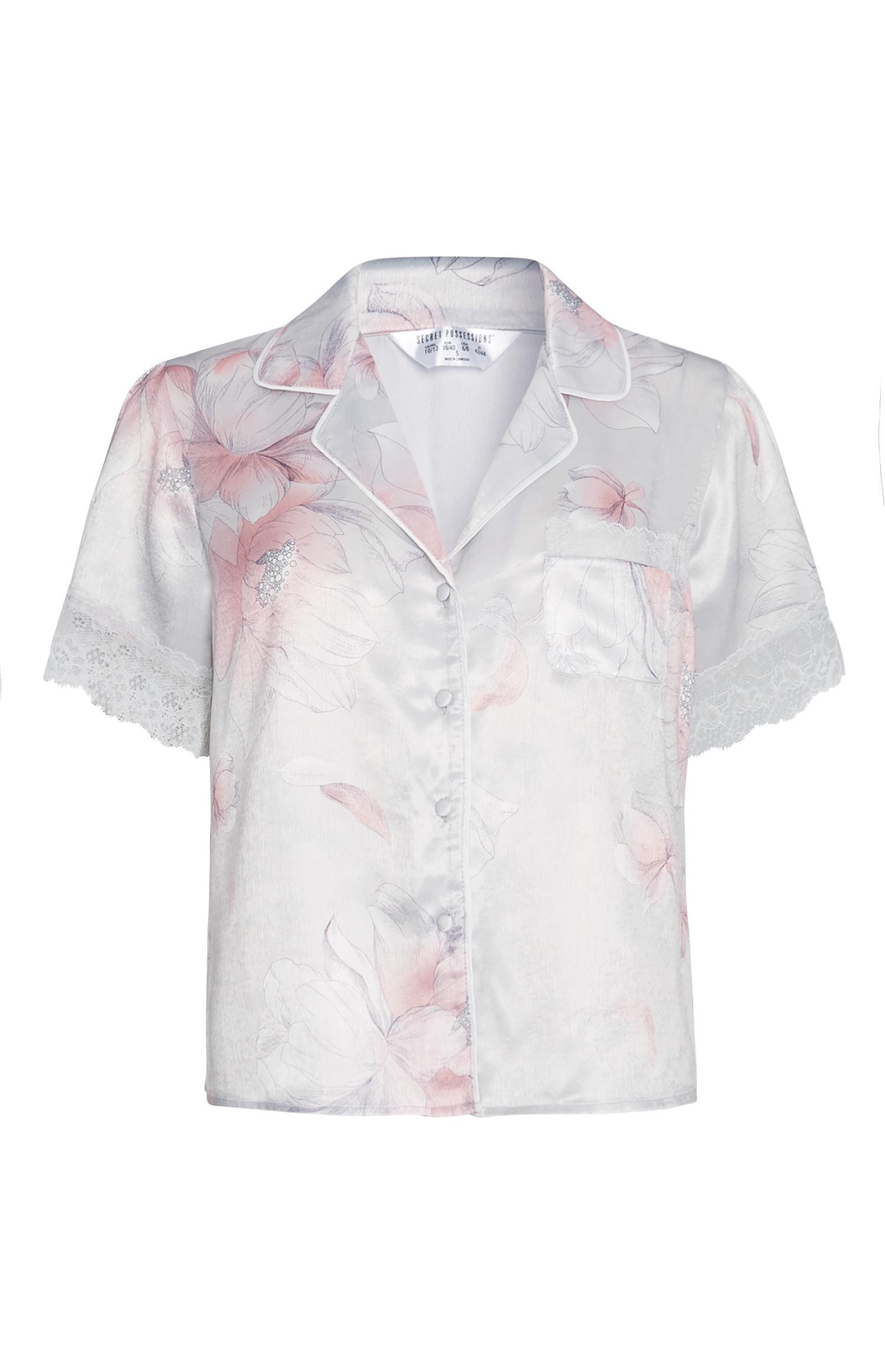 Camicia del pigiama a fiori in raso
