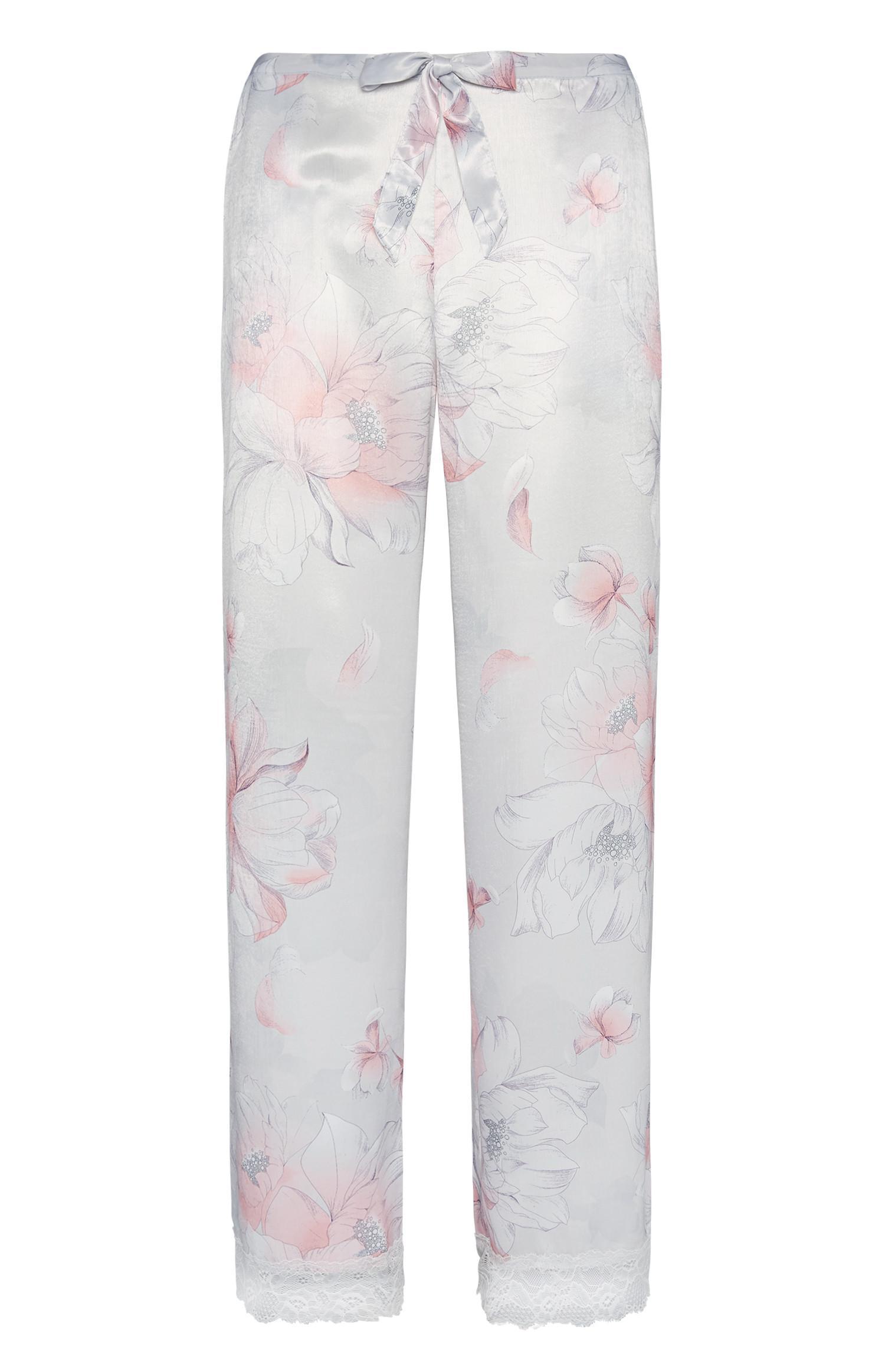 Pantaloni del pigiama in raso a fiori