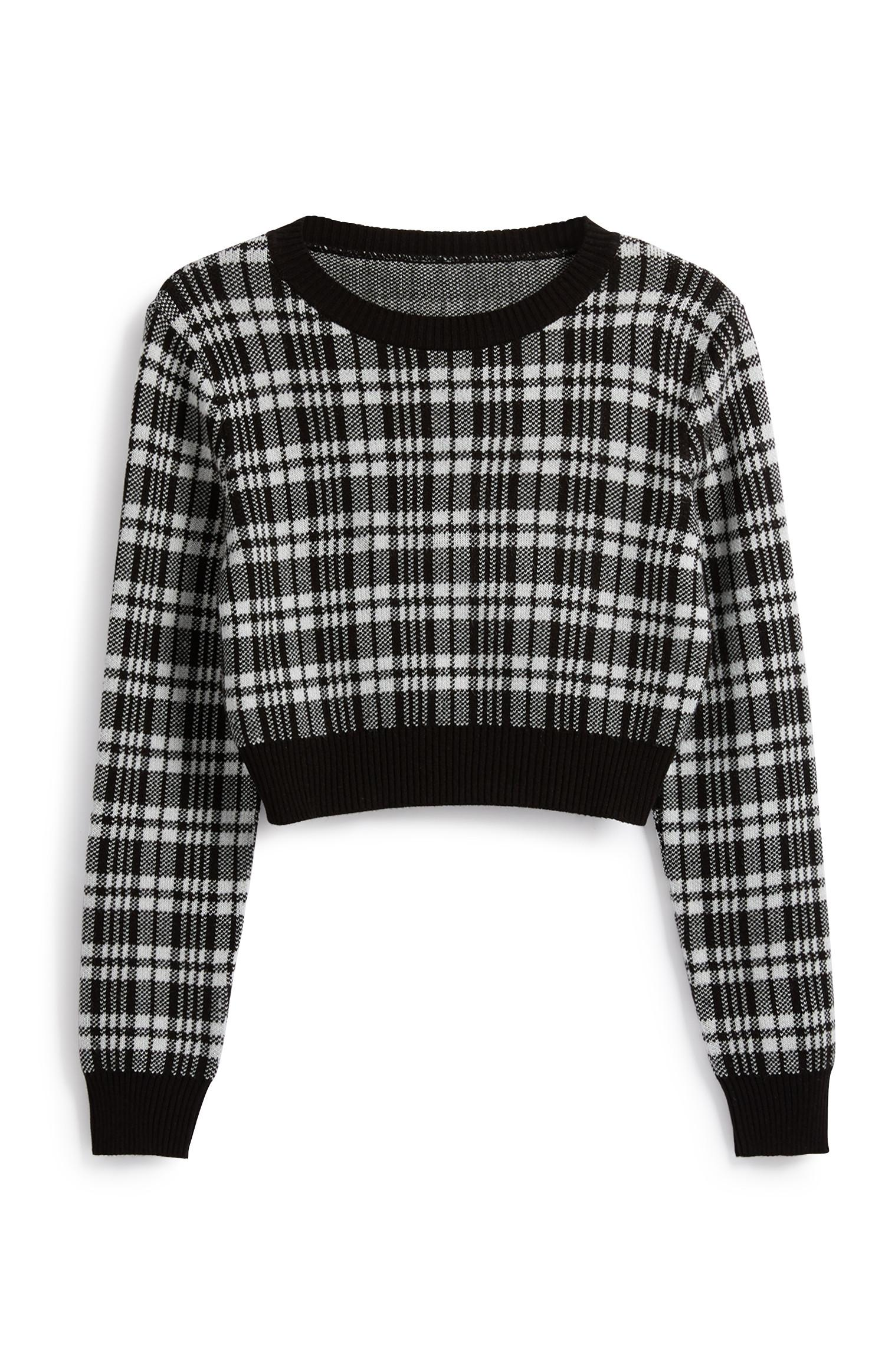Grey Check Crop Jumper