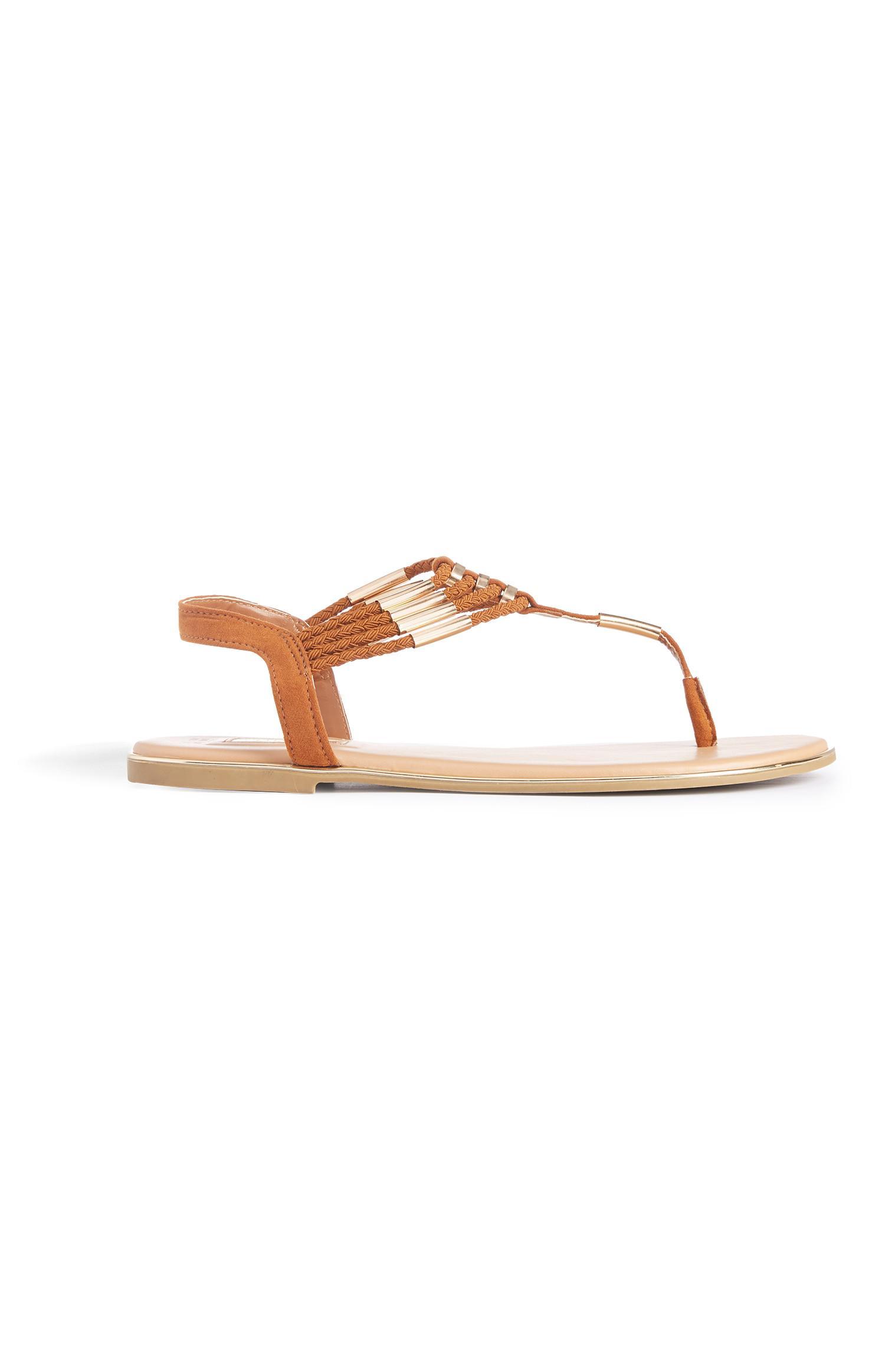 Tan Beaded Thong Sandals