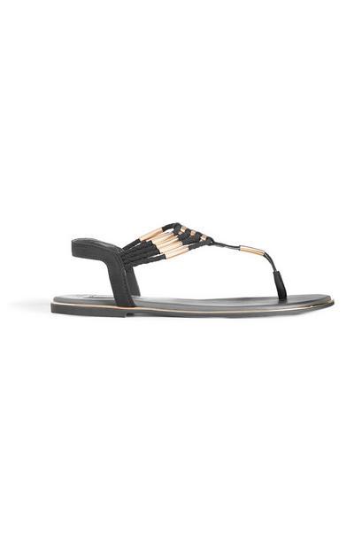 Black Beaded Sandal