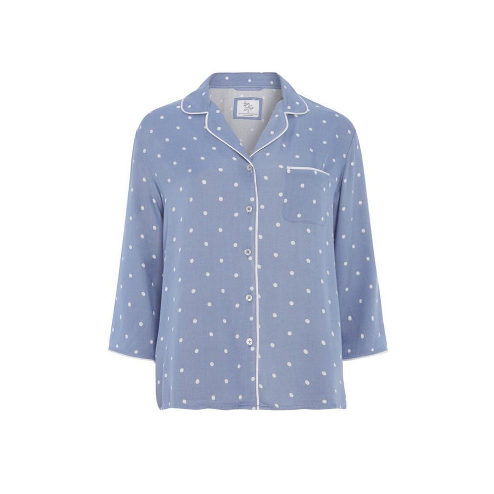 43bb75392f Blue Polka Dot Pyjama Shirt | Set | Pyjamas | Womens | Categories ...
