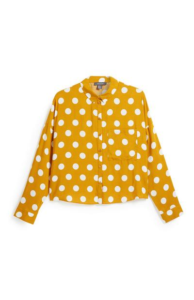 b6675d4fbe2a4a Black Blouse. £8.00. Mustard Polka Dot Crop Shirt