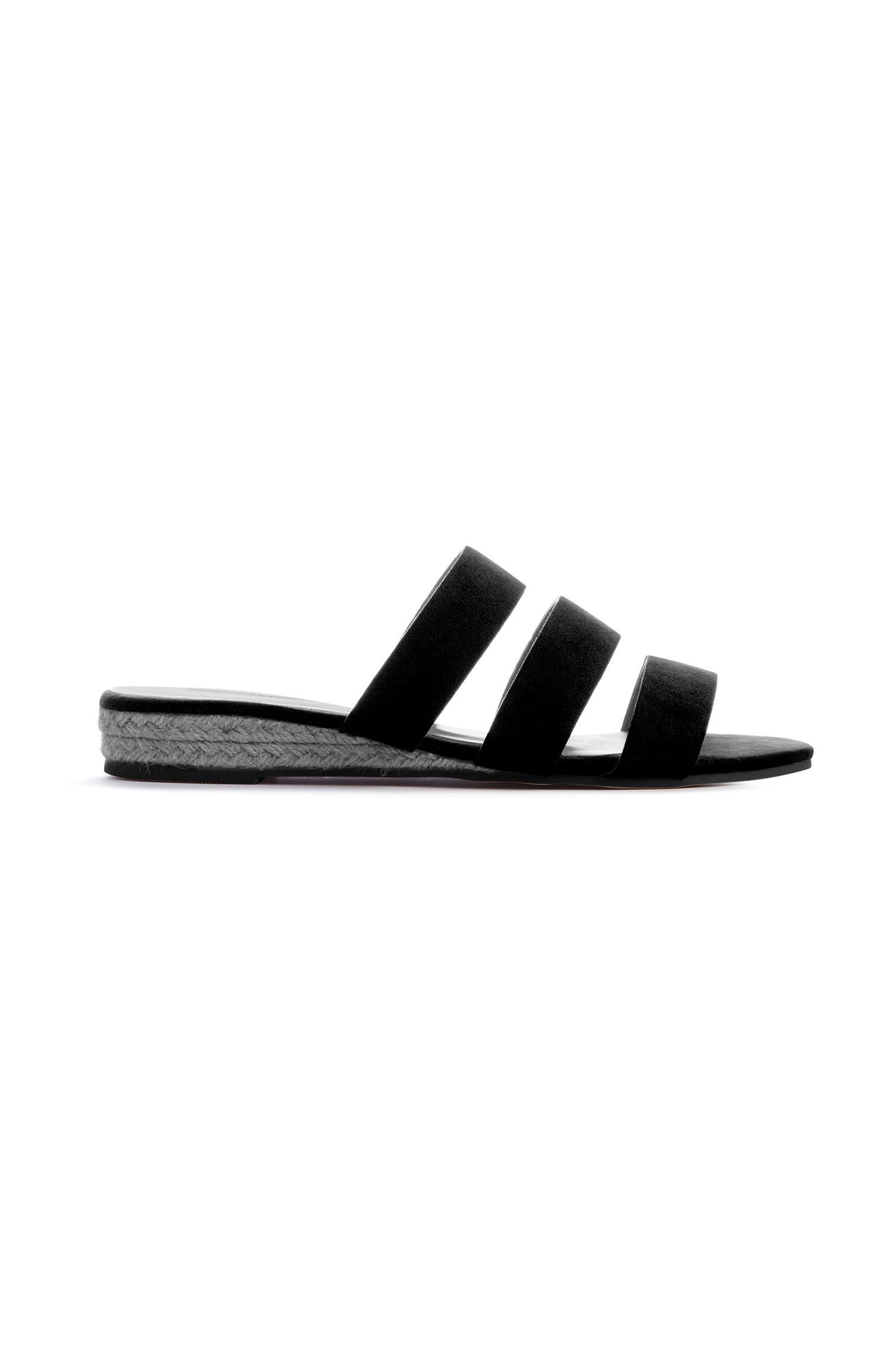 Black Triple Wedge Sandal