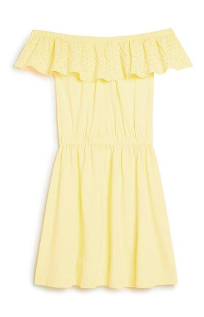 Older Girl Lemon Broderie Dress