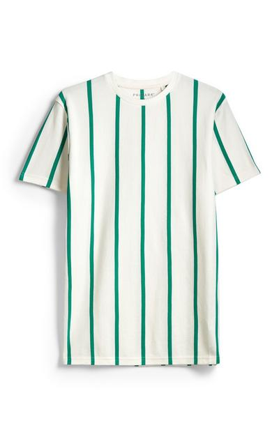 White And Green Stripe T-Shirt
