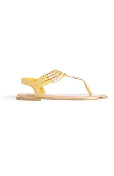 Yellow Beaded Sandal