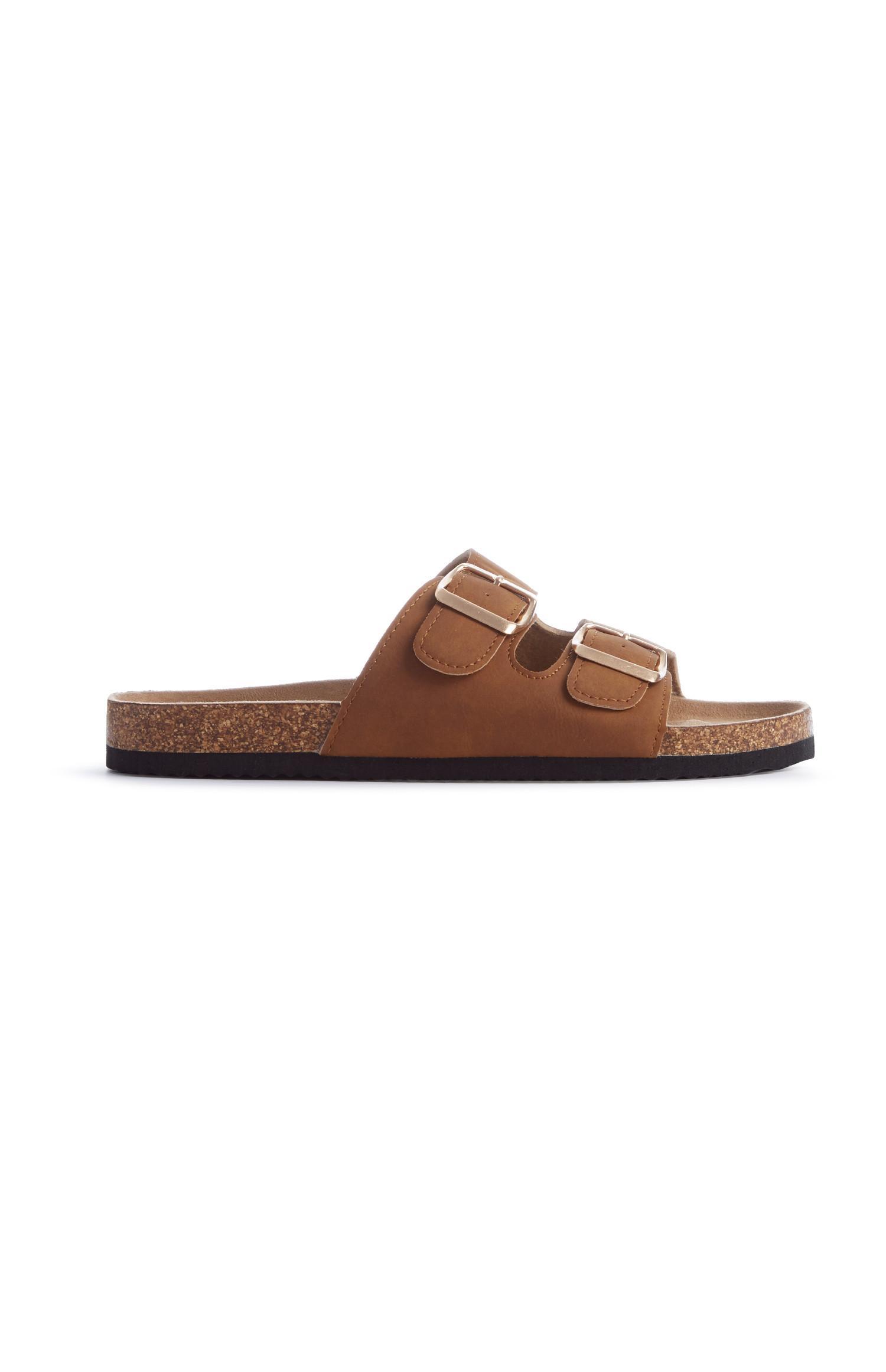 Hellbraune Fußbett-Sandalen