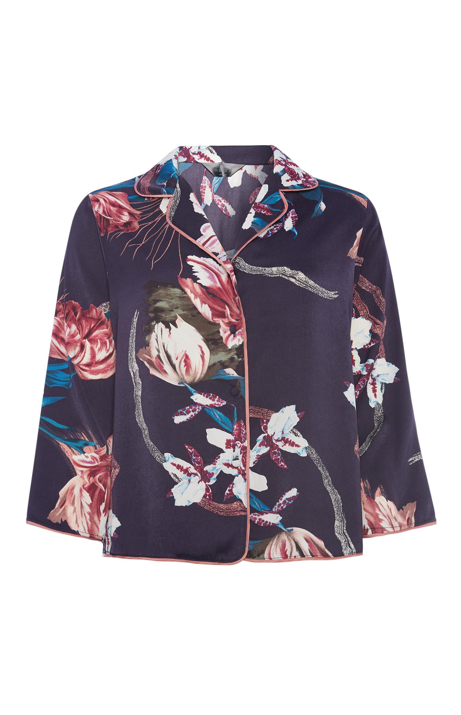 Chemise boutonnée à fleurs en satin