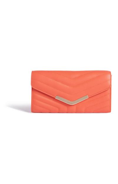 Coral Quilted Clutch