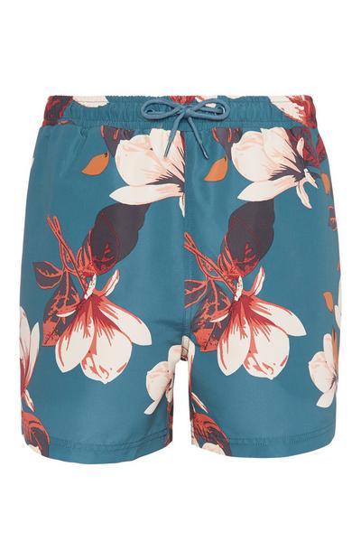 Teal Floral Swim Short